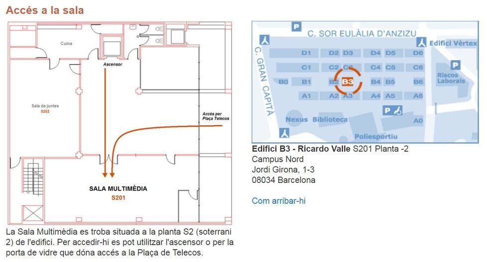 Sala Multimèdia ETSETB. Accés per la plaça de Telecos.