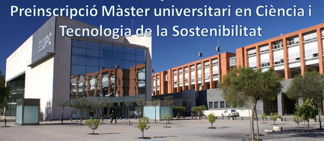 Last pre-enrolment period Master's degree in Science and Technology of Sustainability